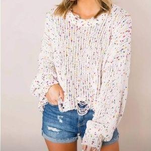 Sale Oversized Distressed Confetti Knit Sweater